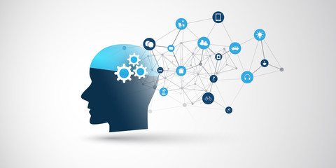Machine Learning, Artificial Intelligence, Cloud Computing, Automated Support Assistance and Networks Design Concept with Wireframe, Icons and Human Head