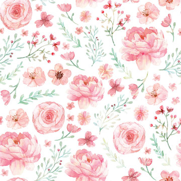 Flowers and leaves pattern