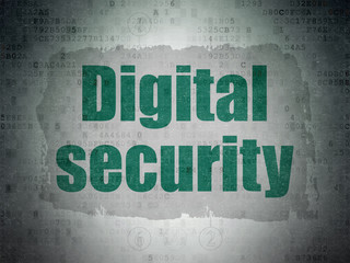 Security concept: Painted green text Digital Security on Digital Data Paper background with  Scheme Of Hexadecimal Code