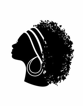profile of an African woman with long hair