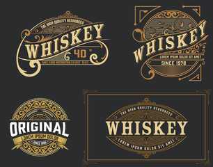 Set of 4 vintage label. Western style