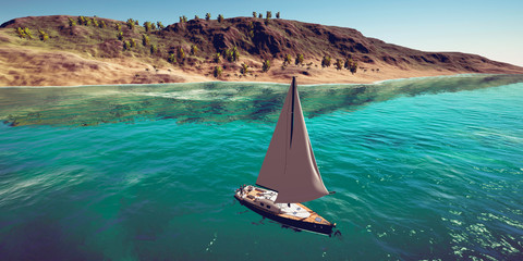Extremely detailed and realistic high resolution 3D illustration of sailing boat at a tropical island doing luxury vacation