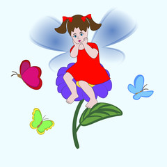 Little cute fairy girl sitting on a flower among the colorful butterflies.