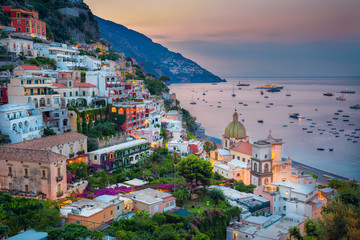 Acrylic Prints Coast Positano. Aerial image of famous city Positano located on Amalfi Coast, Italy during sunrise.