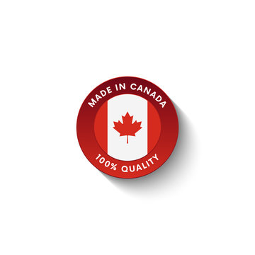 Made in Canada badge with Canada flag. Badge  with long shadow. Vector illustration.