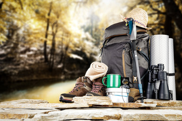 backpack and mountains landscape