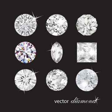 Сollection of different shapes vector diamonds