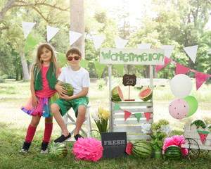 Entrepreneur Kids Selling Fruit Watermelon at Stand