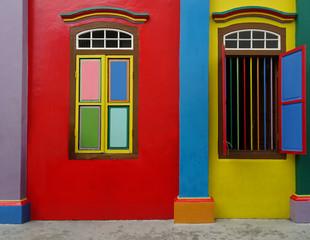 Hausfasade in Littel India mitten in Singapur