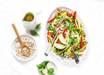 Raw vegetables Pad Thai salad on light background, top view