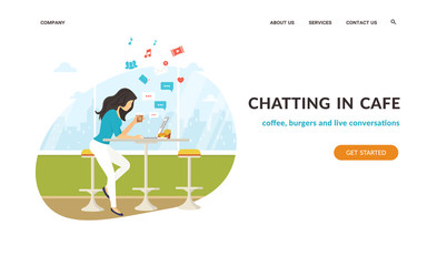 Young teenage woman sitting in the cafe, drinking coffee and working on laptop. Flat vector website template and landing page design of student working and chatting with friends in social networks