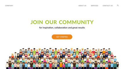 Join our community. Flat concept vector website template and landing page design for invitation to summit or conference. Crowd of united people as a business or creative community standing together