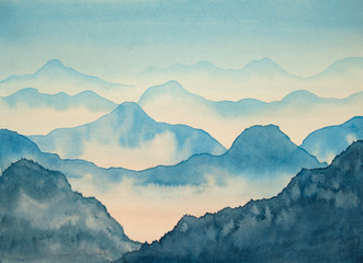 Watercolor mountains and sky