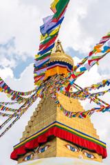Boudhanath Stupa and prayer flags in Kathmandu