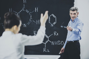 Professor Ask Student About Chemistry Formula.