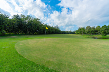 Landscape of golf field WITH blue sky clouds. view nature landscape of beautyful golf course.