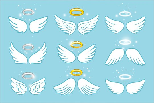 Wings and nimbus. Angel winged glory halo cute cartoon drawings vector illustration