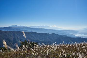 高ボッチ高原からの諏訪湖と諏訪市
