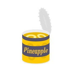 Pineapple tin can icon. Flat illustration of pineapple tin can vector icon for web isolated on white