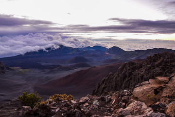 Sunrise over the crater at the summit of Haleakala on Maui, Hawaii