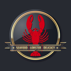 noble glossy golden delicacy or seafood vector lobster logo