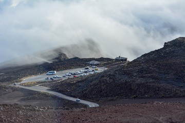 The parking lot for the sunrise viewing station on Haleakala on Maui, Hawaii.