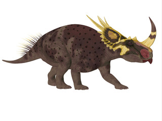 Brown Rubeosaurus Dinosaur Side Profile - Rubeosaurus was a Ceratopsian herbivorous dinosaur that lived during the Cretaceous Period of North America.