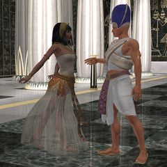 Egyptian Couple - Beautiful Pharaoh's wife dances for him in the throne room full of pillars of Egypt's Old Kingdom.