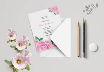 Bridal Shower Invitation Layout with Pink Floral Elements