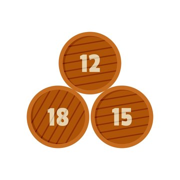 Group of wooden barrel icon. Flat illustration of group of wooden barrel vector icon for web isolated on white