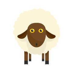 Cute sheep icon. Flat illustration of cute sheep vector icon for web isolated on white