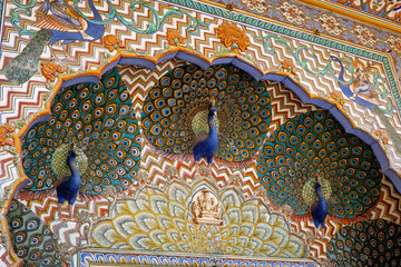Detail decoration on Peacock Gate in Patam Niwas Chowk in the City Palace Jaipur, Rajasthan India