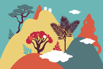Mountain hilly landscape with tropical plants and trees, palms, succulents. Asian landscape in blue, orang, yellow, purple color. Fotomurales