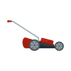 Red motor grass cutter icon. Flat illustration of red motor grass cutter vector icon for web isolated on white