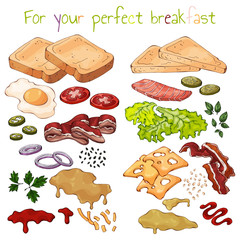 Group of vector colorful illustrations on the theme fast food; set of isolated products for cooking sandwiches. Pictures contain realistic shadows and glare.