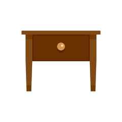 Wood nightstand icon. Flat illustration of wood nightstand vector icon for web isolated on white
