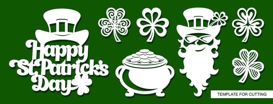"""Set of decoration for St. Patrick's Day:  Leprechaun, pot full of golden coins, shamrock and  phrase """"Happy St Patricks Day"""". Template for laser cutting, wood carving, paper cut and printing. Vector."""