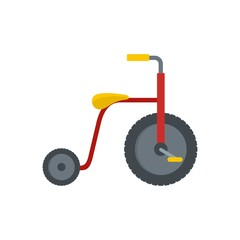 Red tricycle icon. Flat illustration of red tricycle vector icon for web isolated on white