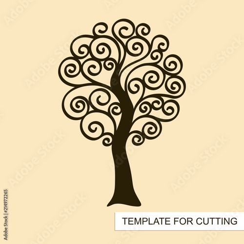 Graphic Silhouette Of Swirl Tree Without Leaves Template For Laser