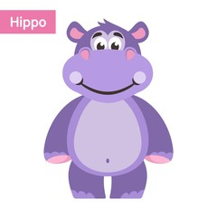 Hippopotamus (hippo). Boy. Cartoon character on a white background. Vector illustration.