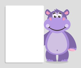 Violet hippo with white board on a grey background. Template for your text. Cartoon character with white banner. Place your text on blank sheet. Vector illustration.