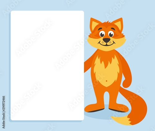 Orange Fox With White Board Template For Your Text Cartoon