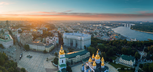 Wall Murals Kiev Beautiful panoramic view of the city of Kiev. Aerial view of St. Michael's Golden-Domed Monastery in the sunset. Ukraine