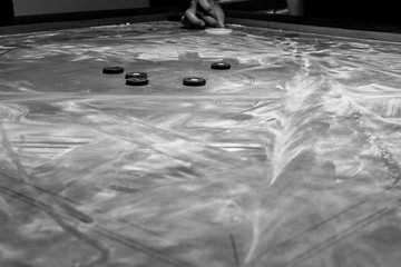 Black And White Picture Of A Carrom Board