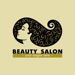 Hair salon logotype. Woman silhouette. Isolated icon for beauty studio, hairdresser salon, spa, cosmetics design, fashion, makeup.Vector template.