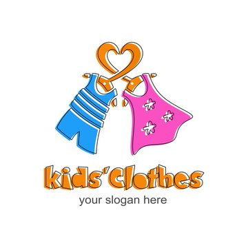 Kids clothes logo. Sign for children's shop. Logotype with orange heart, pink dress for girl, blue t-shirt and shorts for boy. Vector template.