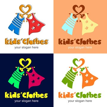 Kids clothes. Logotype with heart, clothes hanger, dress for girl, t-shirt and shorts for boy. Logo or icon for shop, store, market with children dress. Children's fashion. Vector illustration.