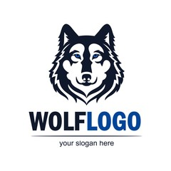 Wolf face logo emblem. Vector silhouette. Isolated icon for  for business or t-shirt design.