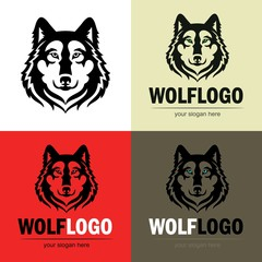 Set of wolf logo. Vector silhouette of a predator head. Isolated icon for for business or t-shirt design.