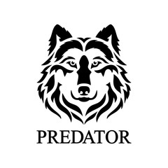 Wolf face logo. Vector silhouette of a predator head.